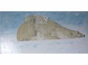 tableau animaux ours polaire glace neige : Gros calin
